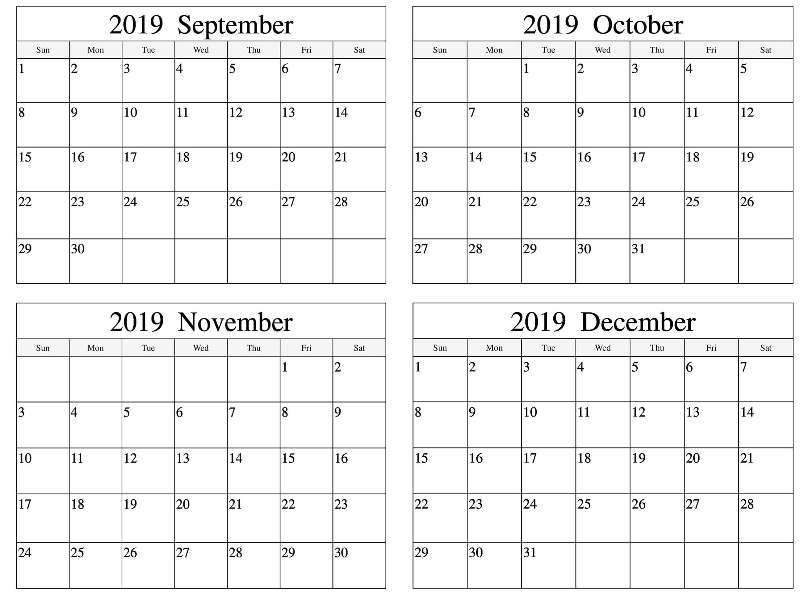 Blank September October November 2019 Calendar Template Calendar