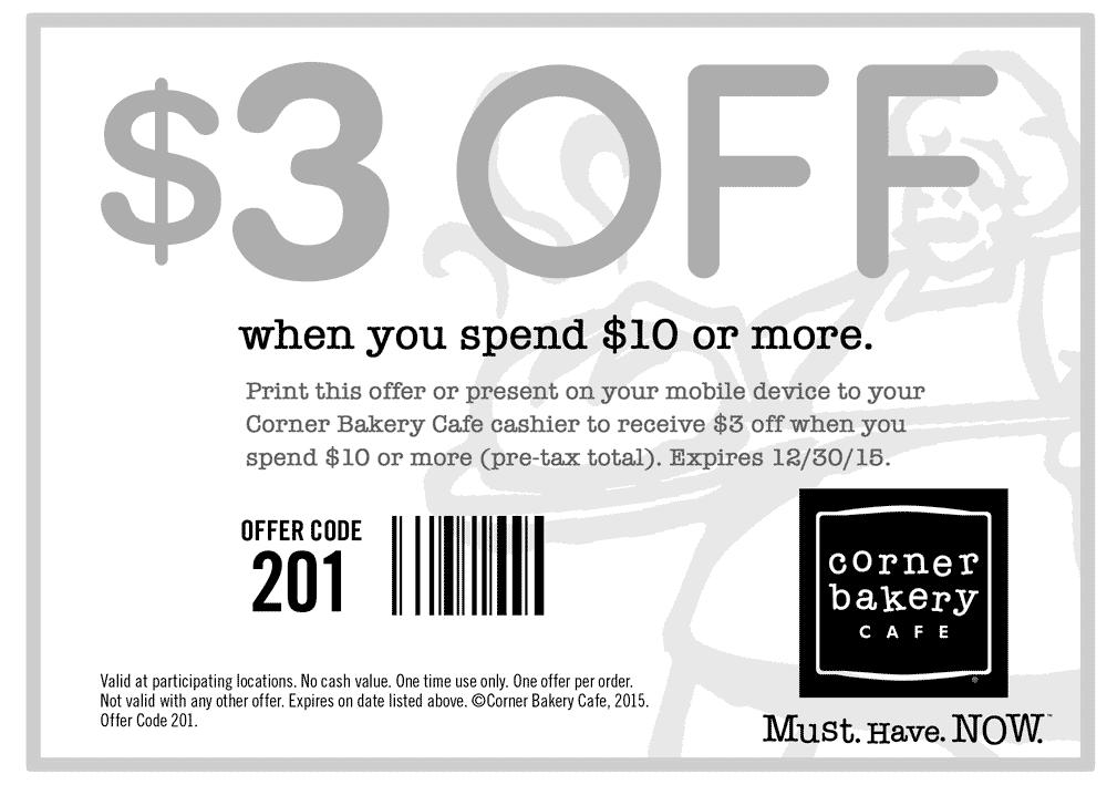 corner bakery coupon code
