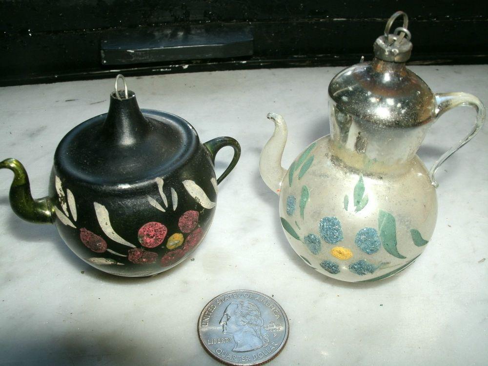 Lot Of 2 Vintage Glass Tea Pot Christmas Tree Ornaments Potted Christmas Trees Vintage Christmas Ornaments Christmas Tree Ornaments