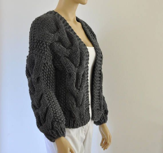 Dark Gray Oversized Knit Cardigan Chunky Knit Bomber Jacket ...