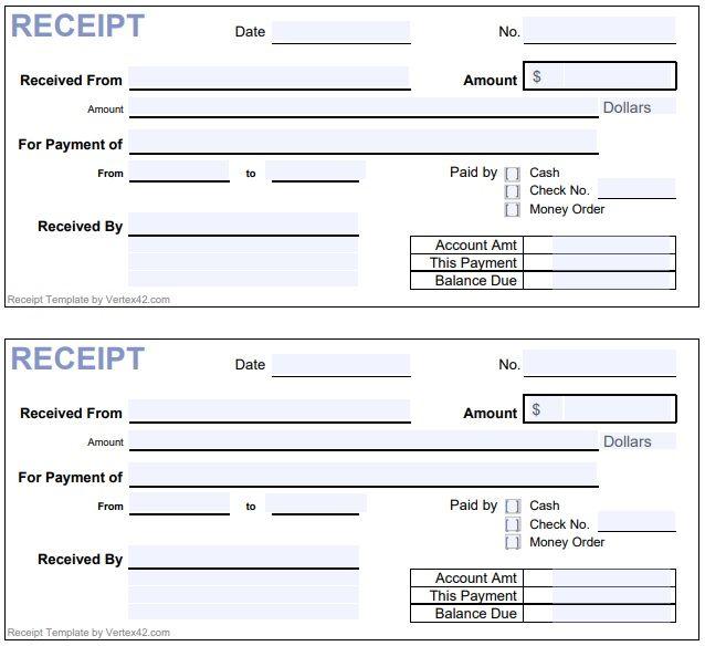 Horizontal Cash Payment Receipt Form Template | Receipt ...