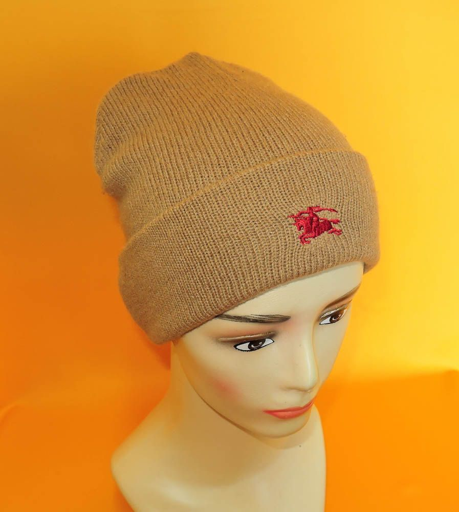 fef842c595fe8d Burberrys Beanie Ski Hat Signature Knight Logo Solid Brown Pure Lambswool Snow  Cap Made In England (22/1) by InPersona on Etsy