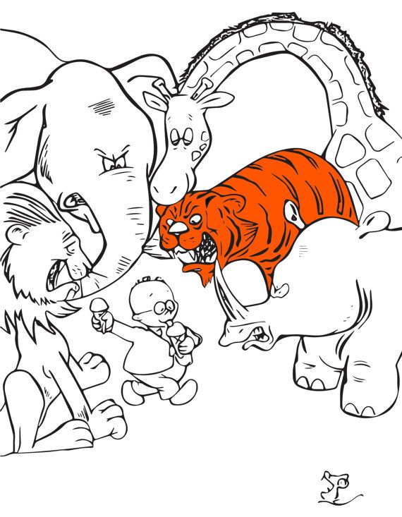 Jungle Animals Boy Ice Cream Instant Jungle Art Jungle Color Page Digital Coloring Pages Coloring Pages For Kids Coloring For Kids