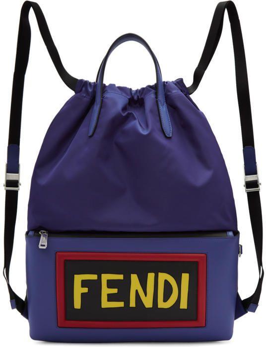0c092d83fa1d Fendi Blue Nylon Logo Drawstring Backpack
