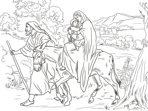 Mary And Joseph Flight Into Egypt Coloring Page Nativity