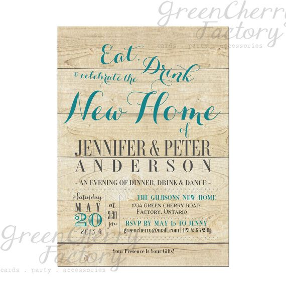 Rustic Housewarming Invitation - Eat Drink and Celebrate the New - best of sample invitation letter for housewarming ceremony