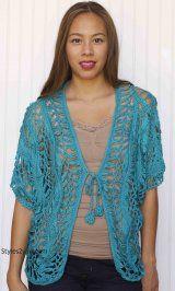 KC Viviette Vintage Crochet Bolero In Aqua