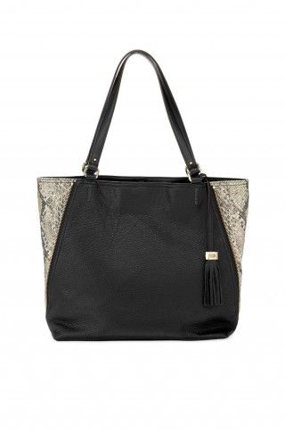 """Stella & Dot The Switch - Black Leather/Snake $298    The """"It"""" bag for any season. Über style-ability. Zip up sides for a slim and sleek silhouette perfect for night, unzip the sides to expose a snake print and expand the bag to a large tote to carry you through the day! LOVE THIS SEASONLESS BAGN"""