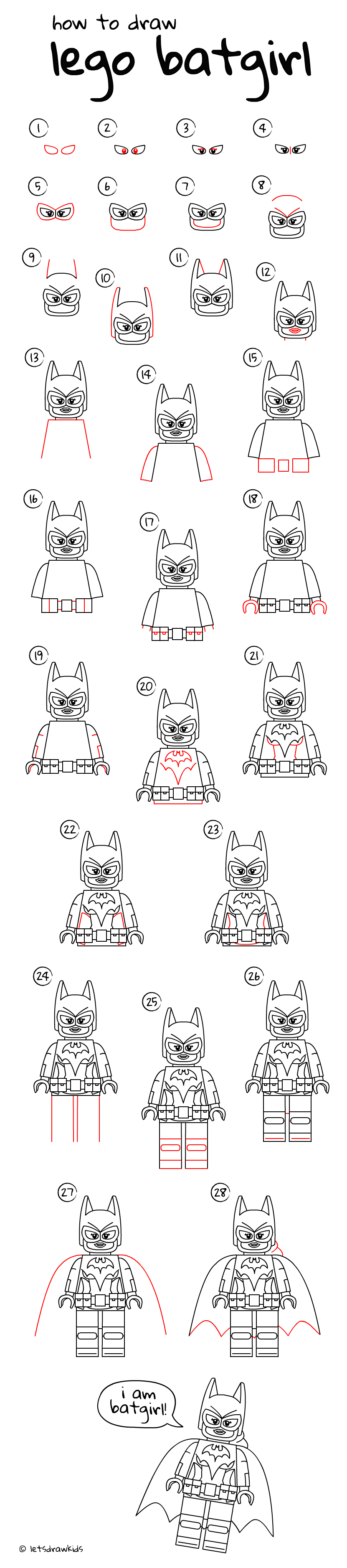 How To Draw Lego Batgirl Easy Drawing, Step By Step, Perfect For Kids