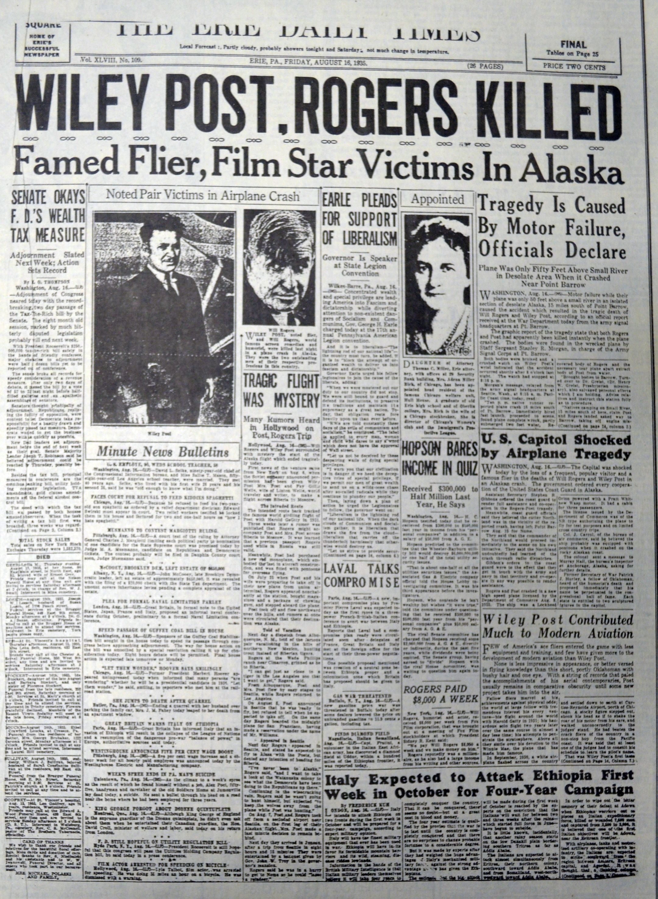 This August 16, 1935 newspaper contains coverage of the death of Wiley  Post, a