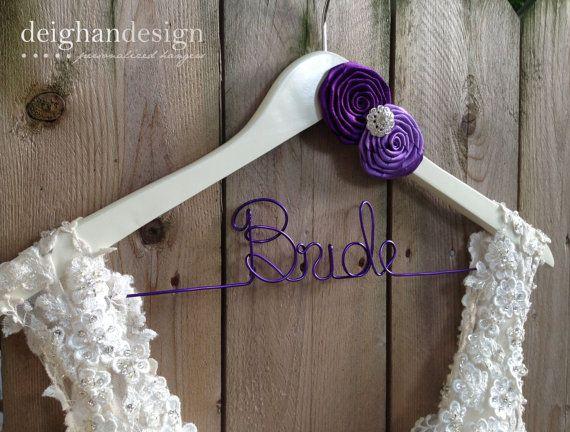 Bride Hanger, Bridal Hanger, Wedding Dress Hanger, Personalized Hanger, Bridesmaid Hangers, Custom Wedding Hanger, Rosettes on Etsy, $38.00