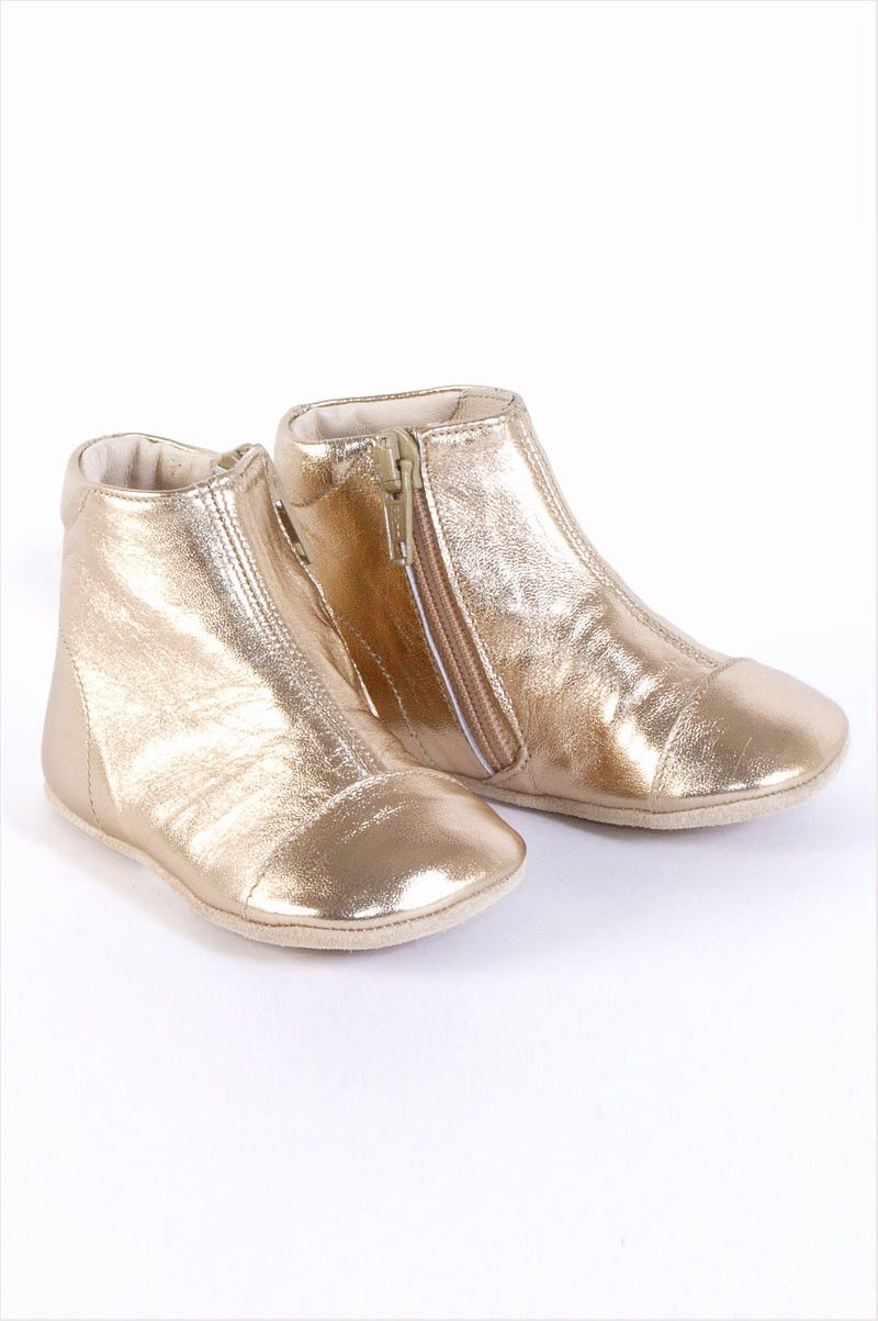 How can we not want these gold baby booties? European Baby Zipper Boot