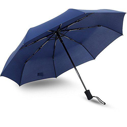 Umbrella Outdoor Waterproof Umbrella Travel Windproof Umbrella Compact Foldable Rain Umbrella Easy Carrying Auto Open  Close Blue *** Visit the image link more details.