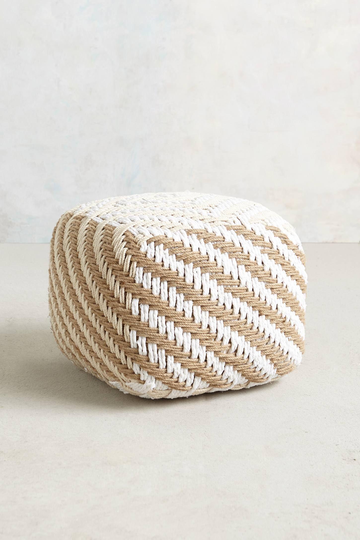 Small Diamond-Weave Pouf - anthropologie.com