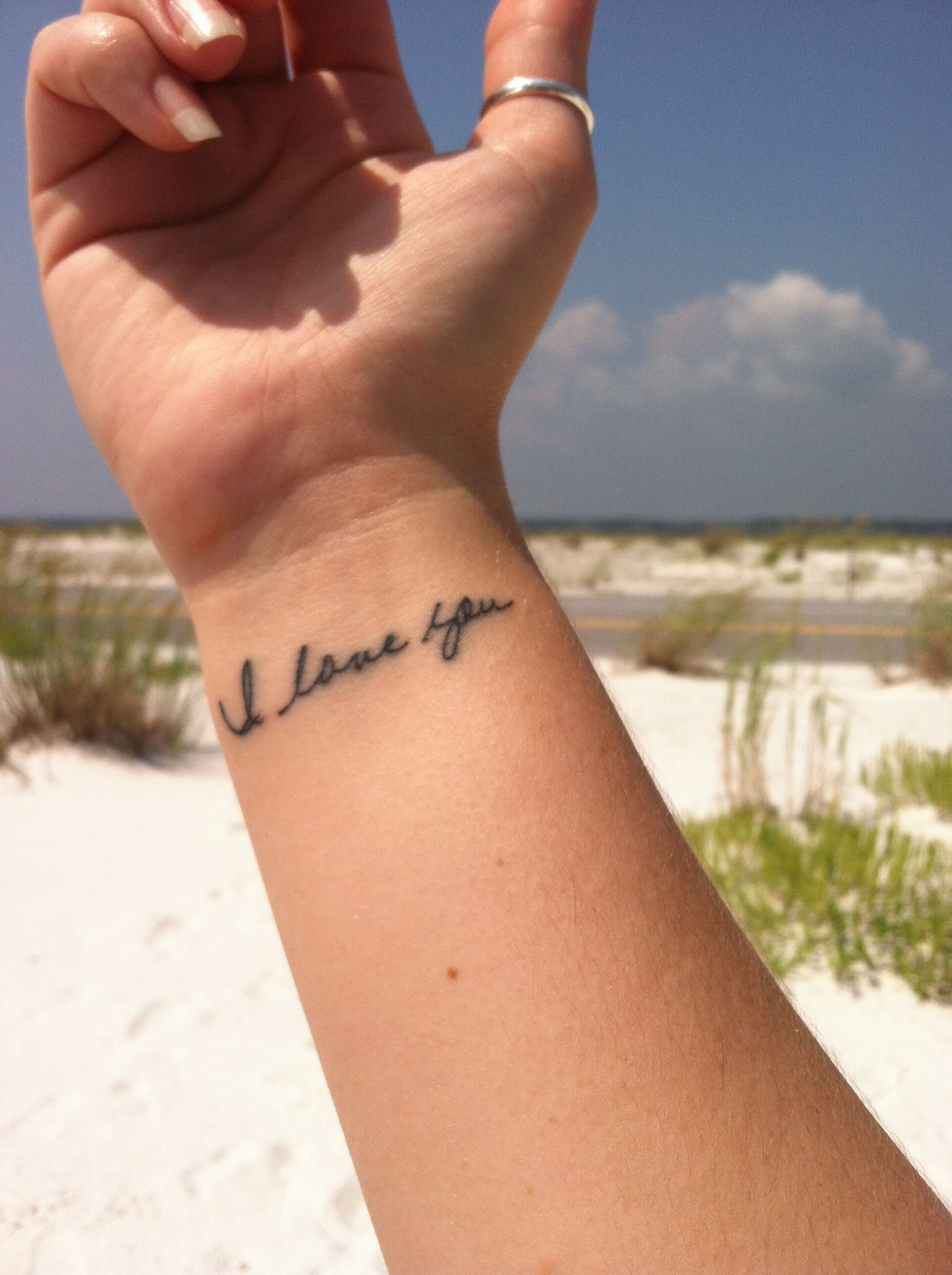 I Love You Tattoo In My Grandmother S Handwriting Done By Grimm At Waves Panama City Beach Fl