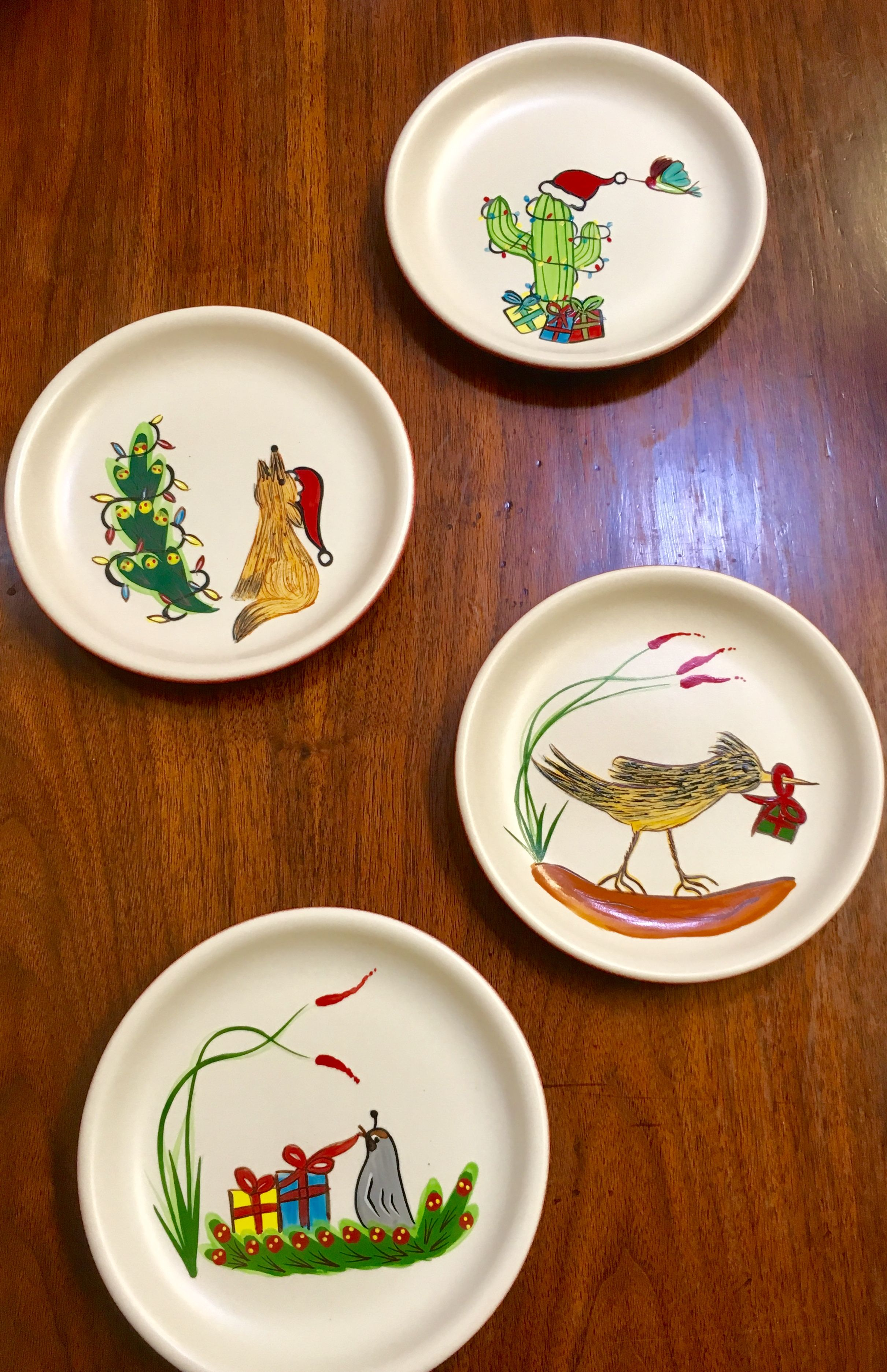 Set Of Four Hand Painted Southwestern Holiday Plates 100 Made In Usa By Hf Coors
