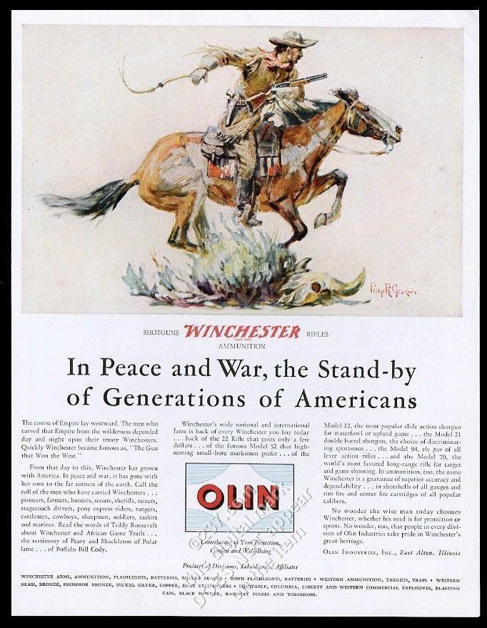 1946 Winchester 94 Cowboy Horse Philip R Goodwin Art Olin Vintage Print Ad