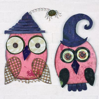 Wood Washed Owl Halloween Wall Hanging Priced Individually - Choose Style Material: Wood Size: 9.00 x 14.50  Arriving Summer 2013