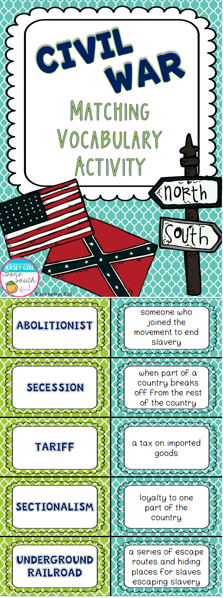 Civil War Vocabulary Matching Activity - Set of 20 | 7th ...
