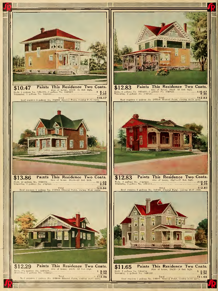 sample exterior paint colors from 1912 sears catalog