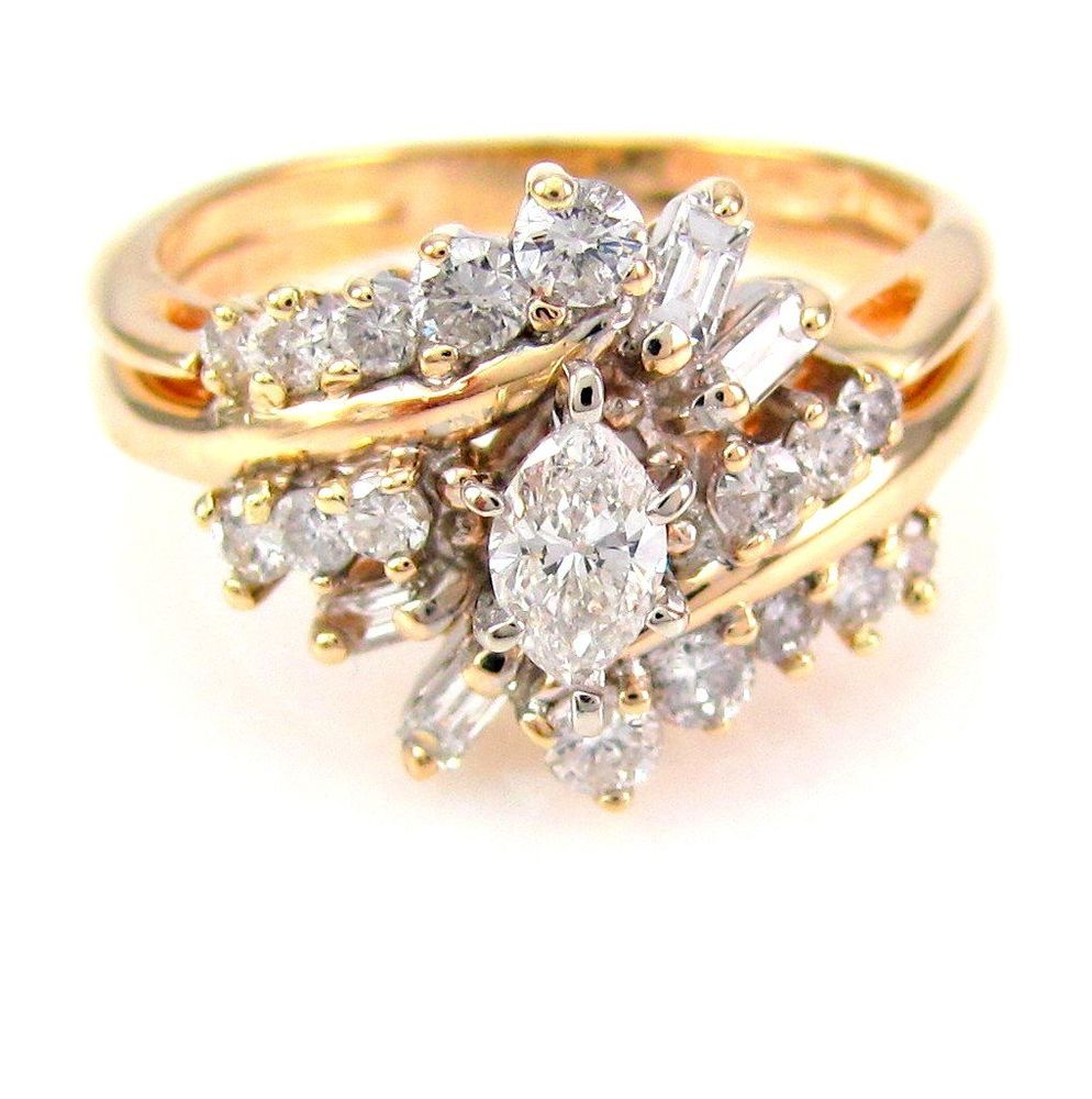 Vintage Diamond Cluster Estate Engagement Wedding Ring Set 14K Gold