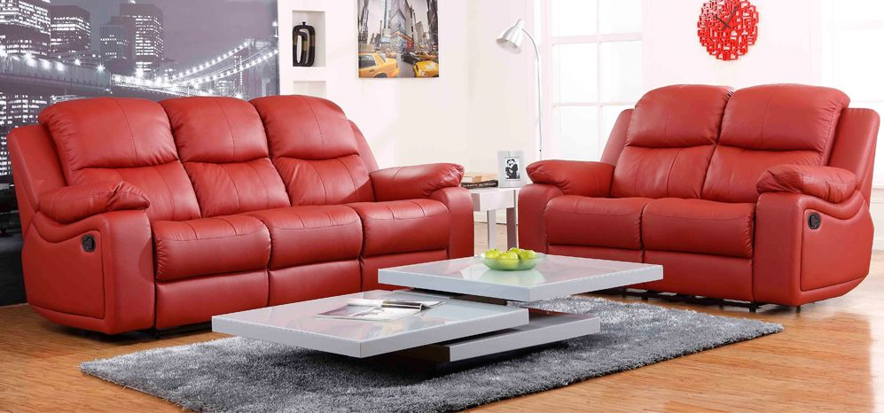 Montreal Rosso Red Reclining 3 2 1 Seater Leather Sofa Set