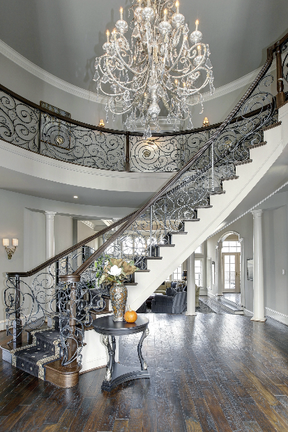 Silver Color Stairs Ornate Balusters White Wrought Iron Chandelier Staircases With Metal