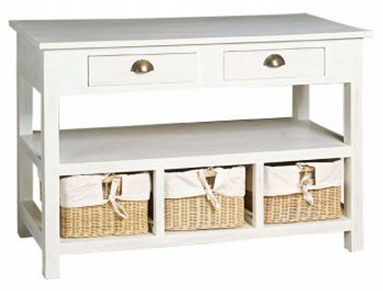 meuble de rangement blanc avec panier