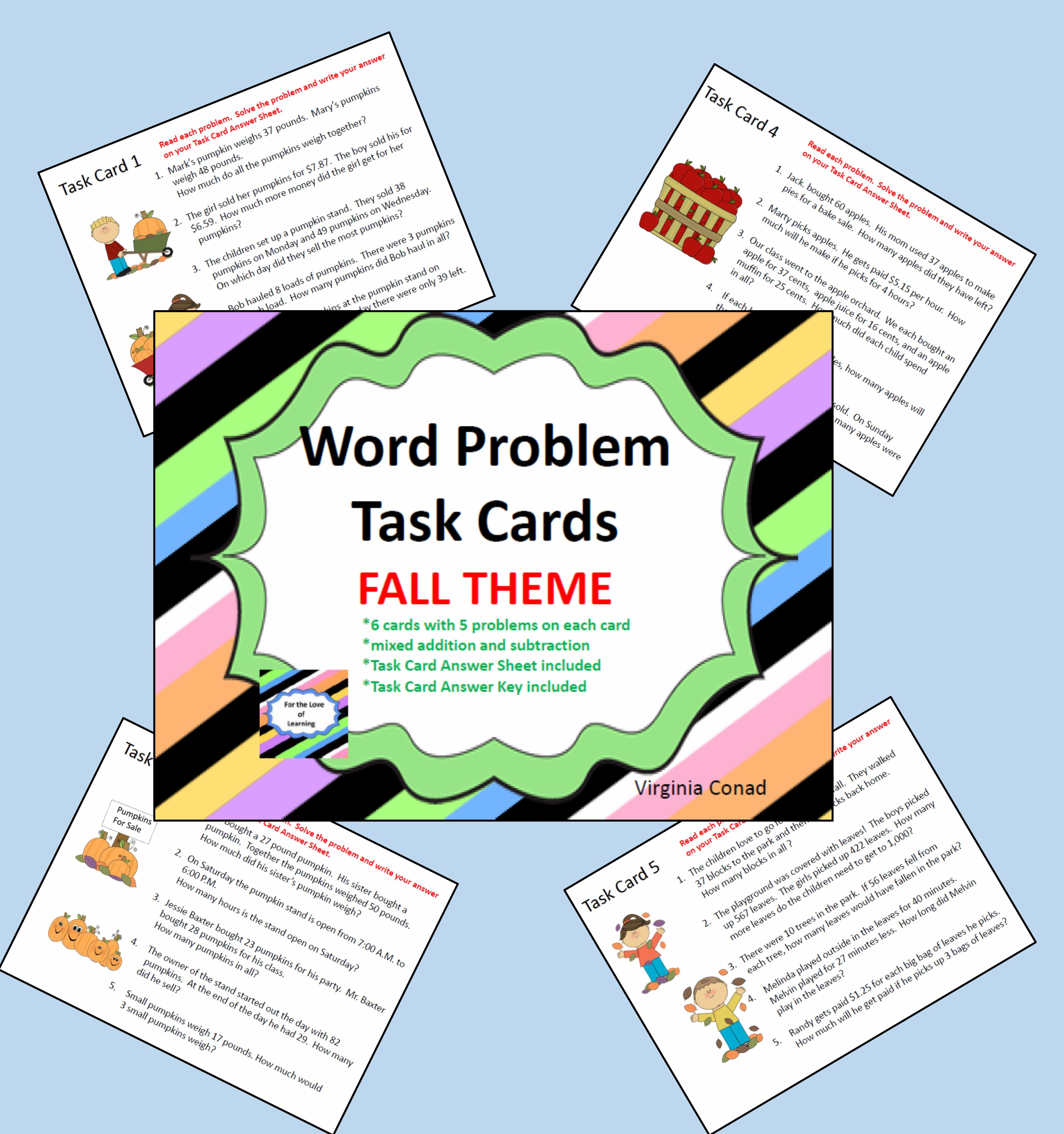 Word Problem Task Cards Fall Theme
