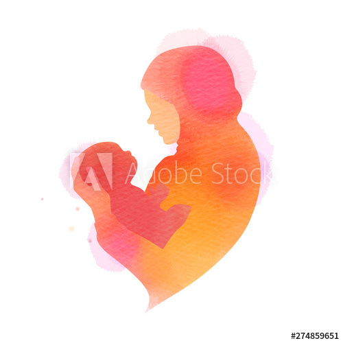 Happy mother's day. Side view of Happy Muslim mom with her baby  silhouette plus abstract watercolor painted. Muslim mama with her child. Double exposure illustration. Digital art painting. Stock Vector