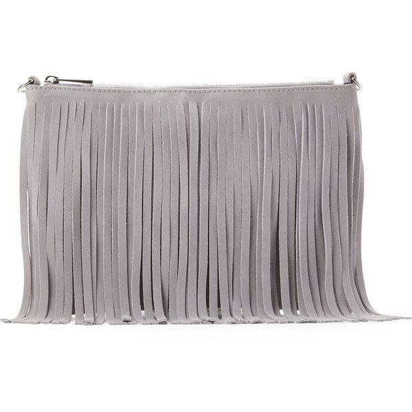 4c65e63e8733 POSSE Light Grey Kim Fringe Crossbody ( 65) ❤ liked on Polyvore featuring  bags