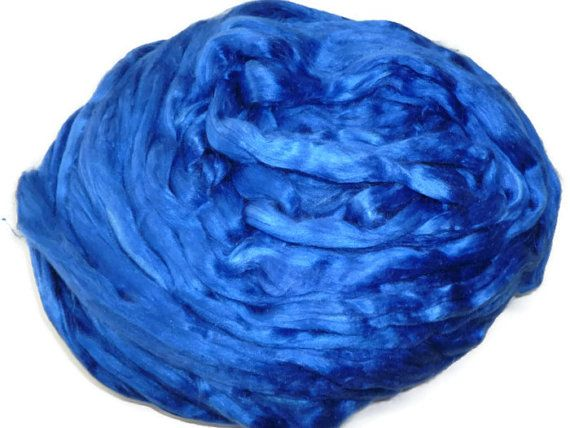 1 oz Mulberry Silk roving hand dyed Royal Blue by DivinityFibers