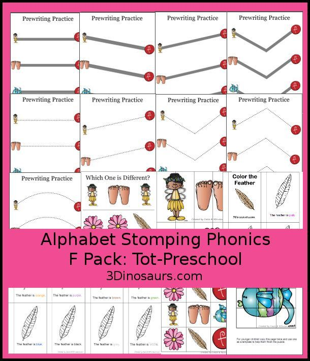 Free Alphabet Stomping F Tot-Preschoool - 20 pages of activities - http://3Dinosaurs.com