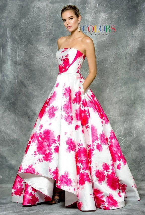 Print Mikado Prom Evening Dress with Scarf | Vestidos fiestas ...