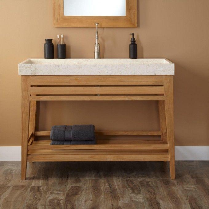 48 Aurelia Teak Trough Sink Vanity Unique Bathroom Vanity Unfinished Bathroom Vanities Trough Sink