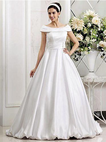 A-line Princess Off-the-shoulder Sweep/Brush Train Crystal Detailing Satin Mermaid Wedding Dress