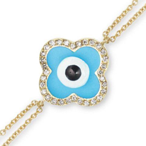 18k gold clover shaped diamond rim eye, dual chain evil eye bracelet | Fredric H. Rubel Jewelers