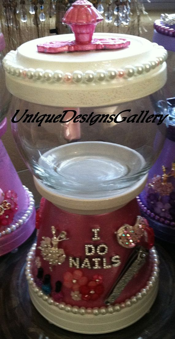 I DO NAILS, Candy Jar, Bank, Cookie Jar, Decanter, Gumball Machine ...