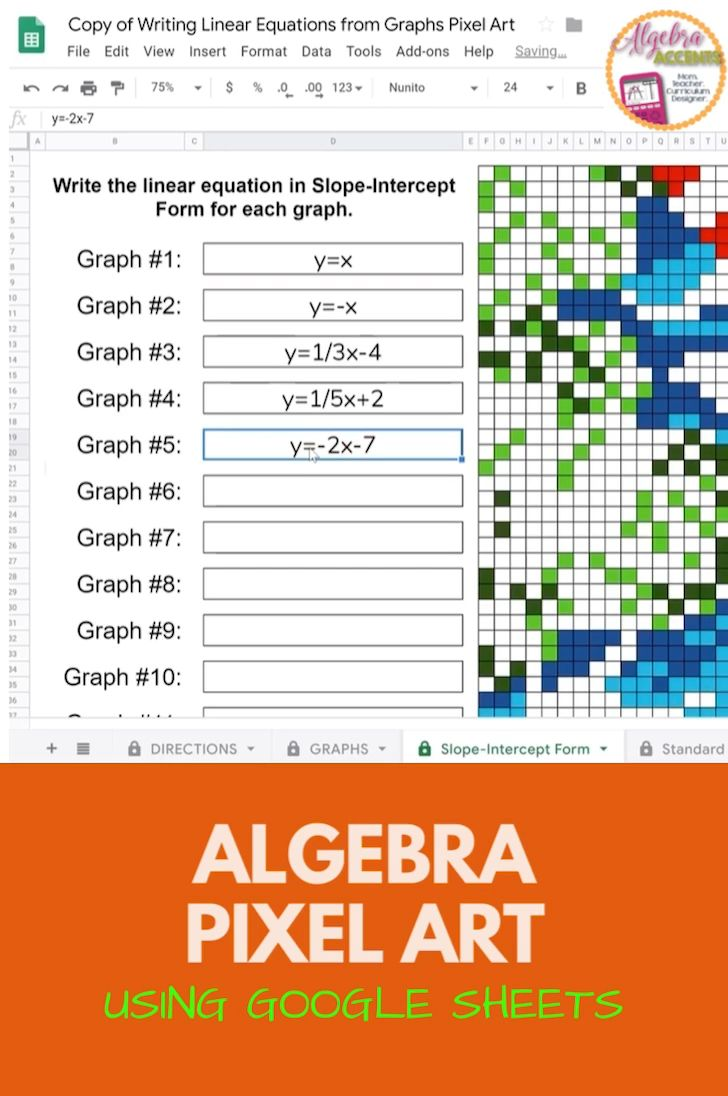 Writing Linear Equations From Graphs Pixel Art Made For Google Drive Video Writing Linear Equations Linear Equations Graphing Linear Equations [ 1096 x 728 Pixel ]