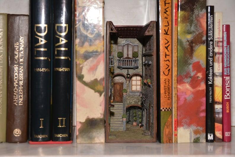 Book nook bookshelf insert art Hidden world of old Italy patio - Booknook alley is original book lover gift
