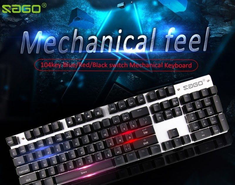 964b3470357 Discount This Month Sago original gaming keyboard Russian keyboard  Mechanical Keyboard 104 keys usb Wired keyboard blue/red/black switch  Keyboard
