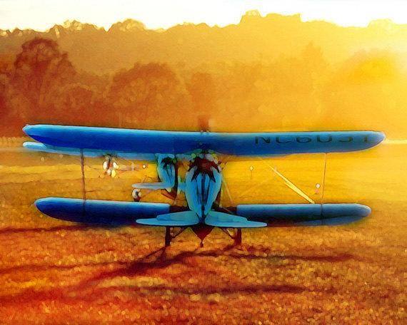 Antique Airplane Print - Blue Yellow Orange Plane Biplane