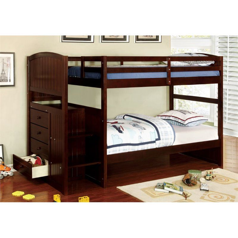 Furniture of America Atkinson Twin over Twin Bunk Bed with Steps