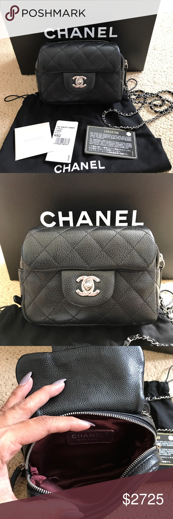 7077e926f35 CHANEL Mini Flap Black Caviar Wallet on Chain WOC This gorgeous Chanel  Crossbody mini WOC is