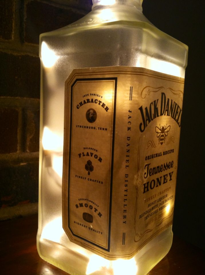 https://www.etsy.com/listing/207047278/jack-daniels-tennesse-honey-lighted see more at http://www.lightitupcreations.blogspot.com/?m=1 #bottle #seasonal #whiskey #frosted #lighted #lamp #jackdaniels #bar