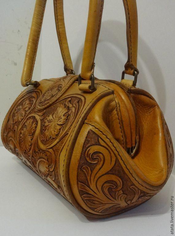 21ef3e1fdd55 Купить Сумка с фермуаром - коричневый, орнамент, женская сумка из кожи,  Кожаная…