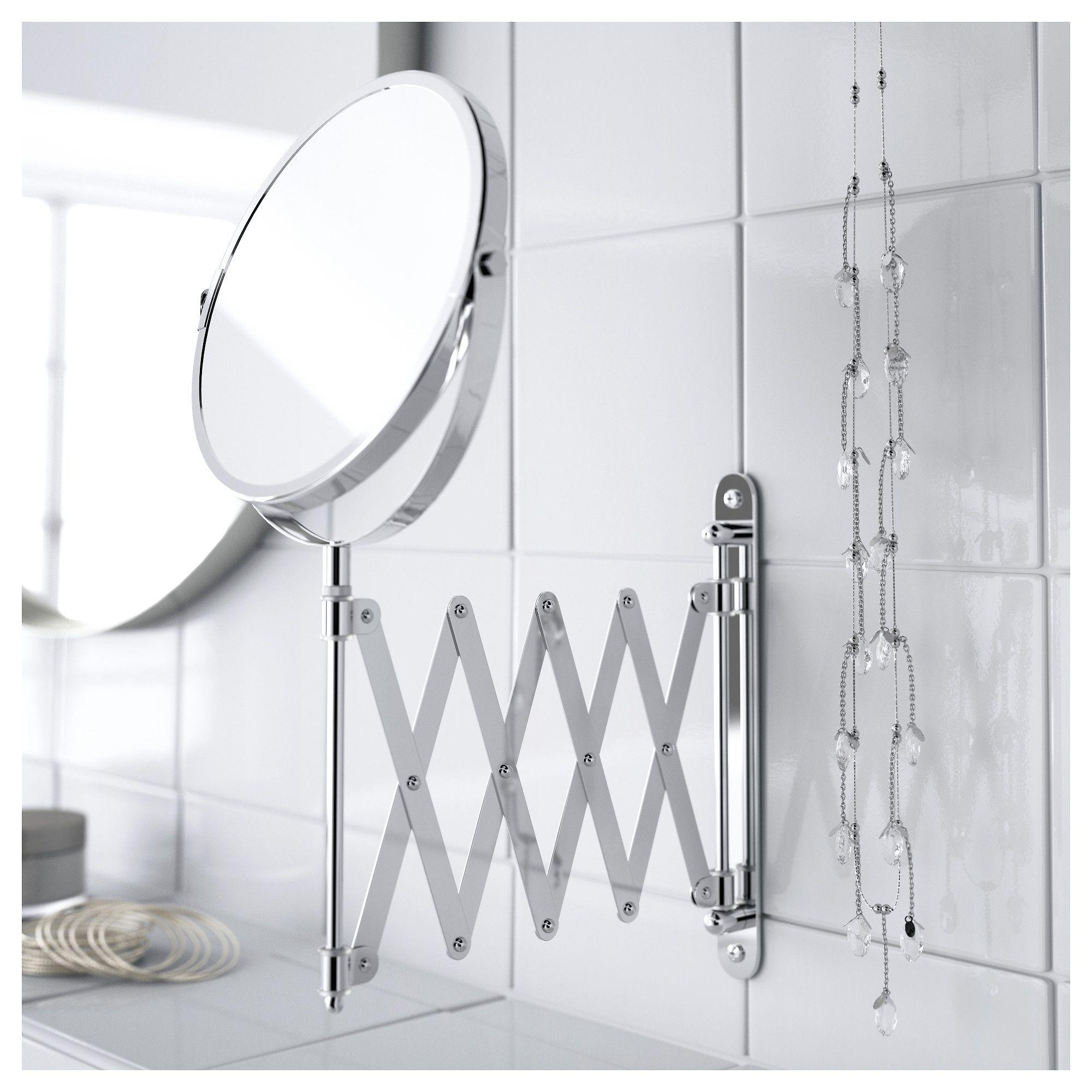 FRÄCK Mirror stainless steel Magnifying mirror, Ikea