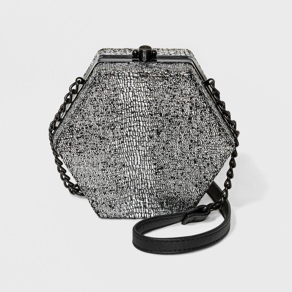 Snakeskin Hexagon Crossbody Bag - Wild Fable Silver 93b9f47065a2a