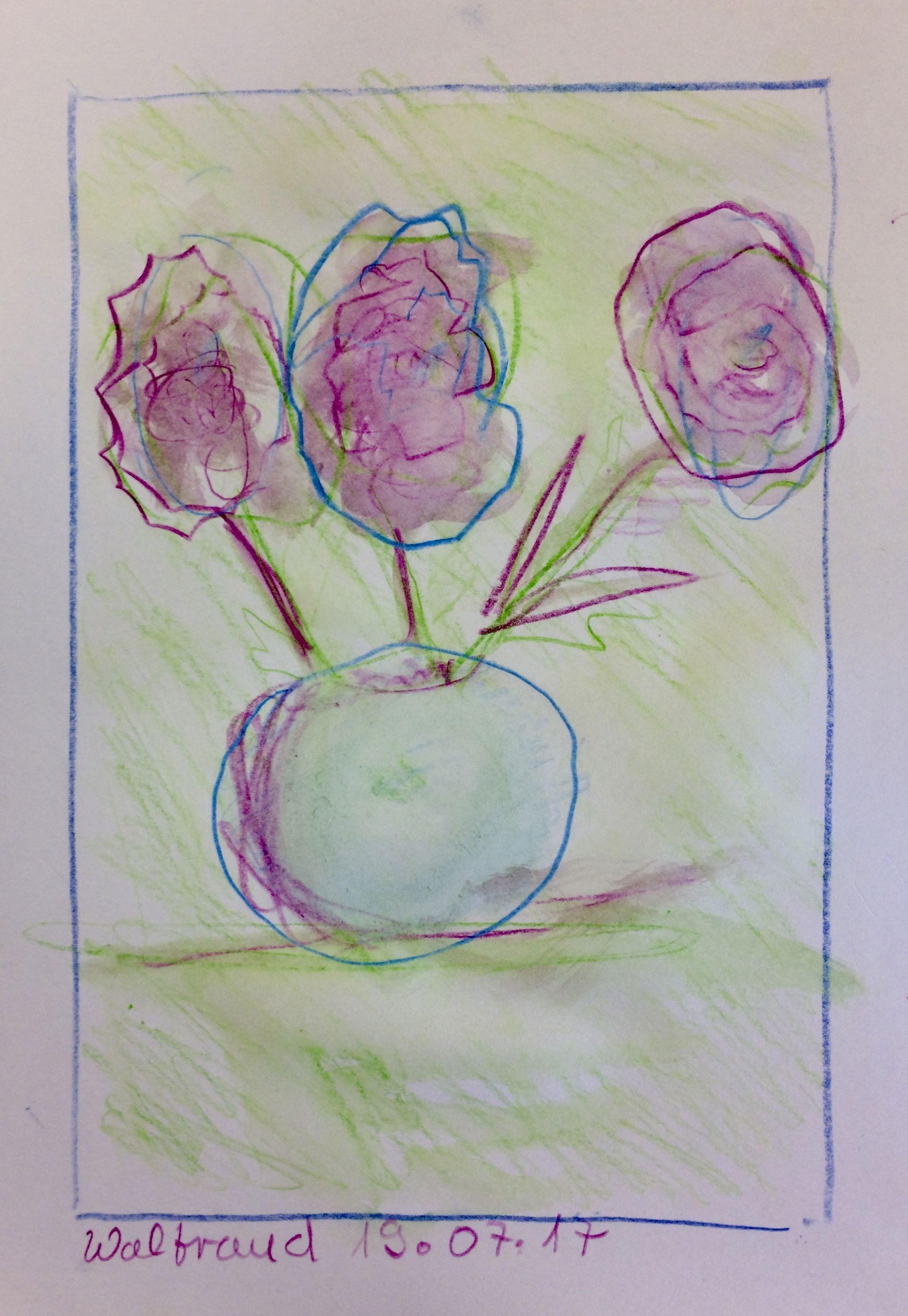 Waltraud Blumen Mit Vase Aquarellstifte Teilnehmer Der