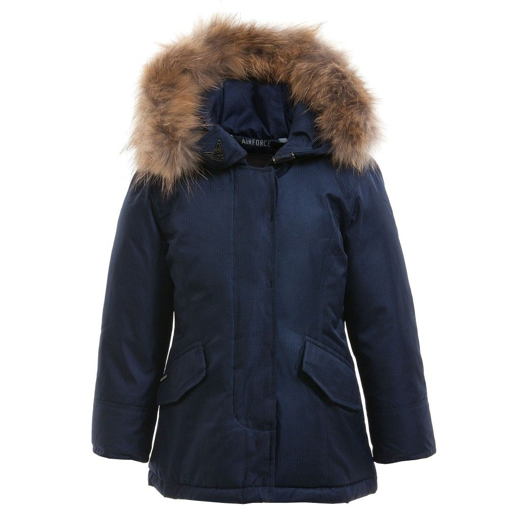 Airforce Girls Navy Blue Padded Coat with Fur Hood at ...
